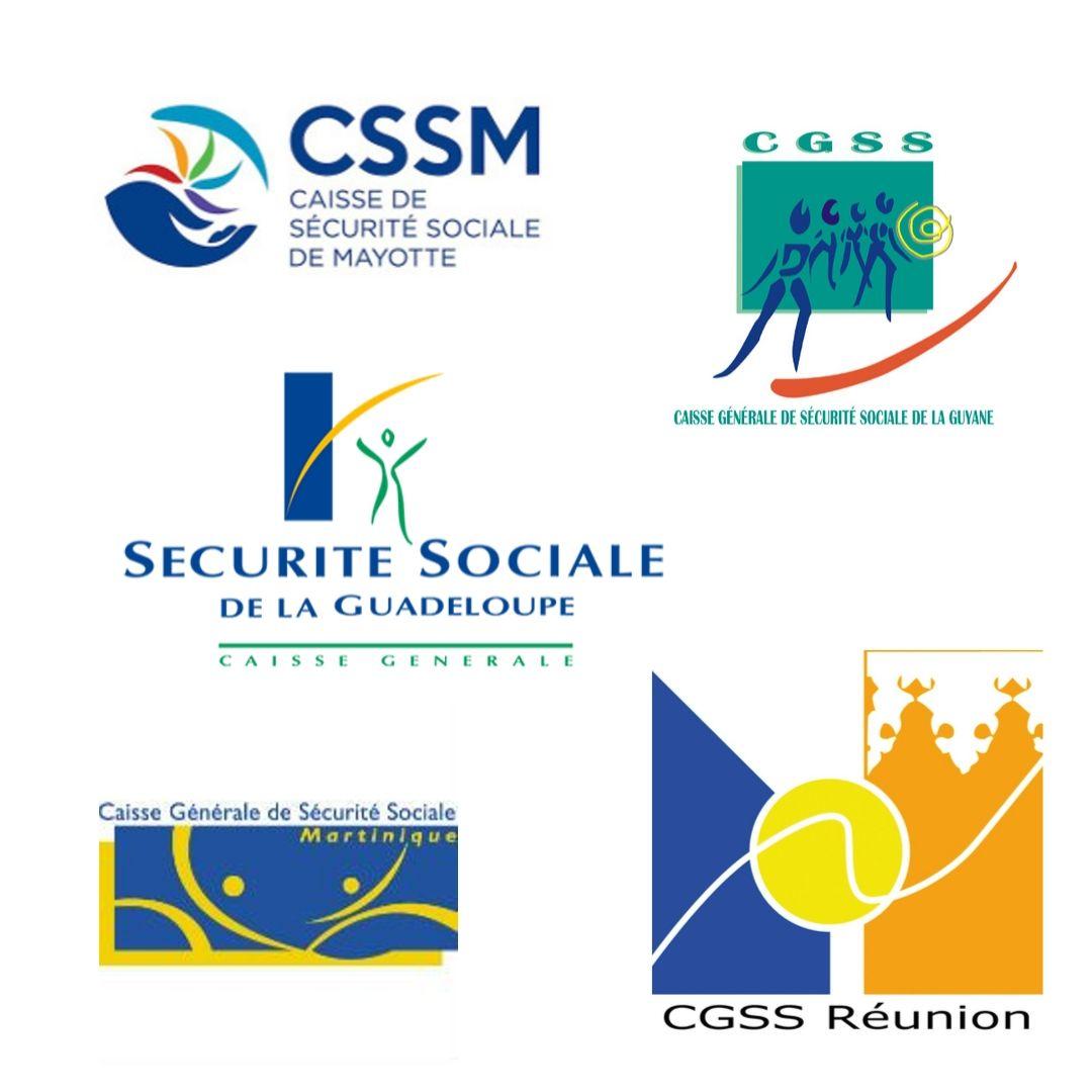 logos des différentes CGSS en Outre-Mer
